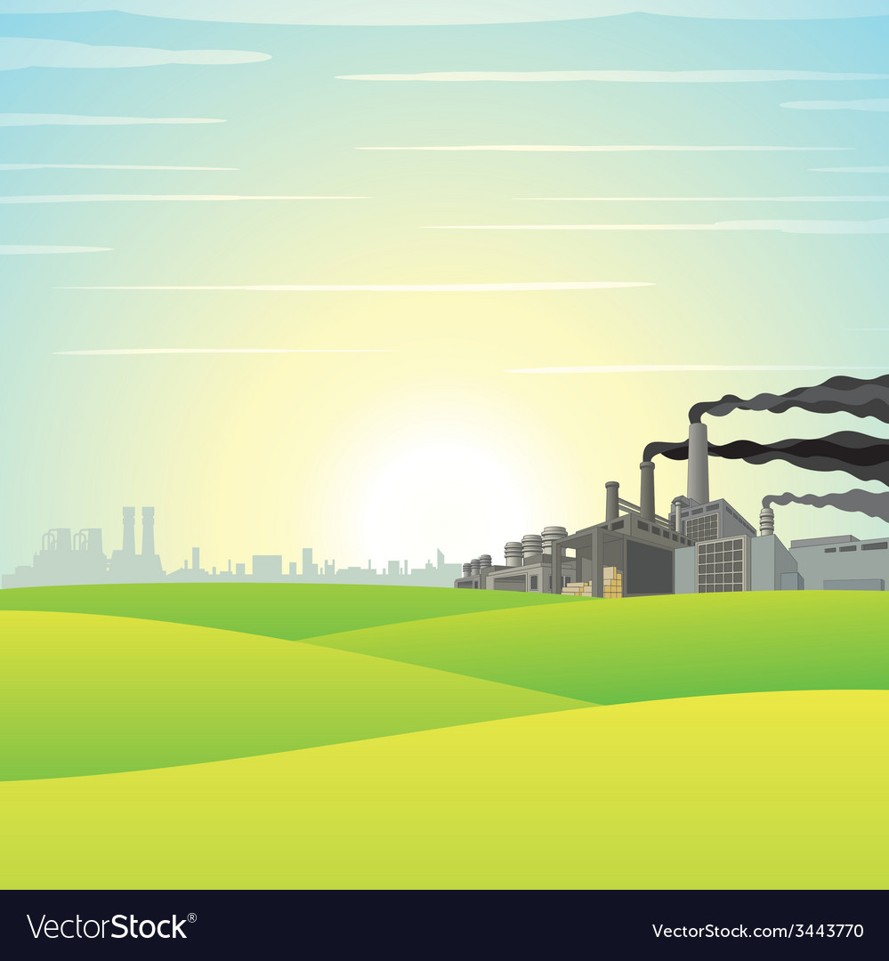 Chemical factory on green meadow vector | Price: 1 Credit (USD $1)