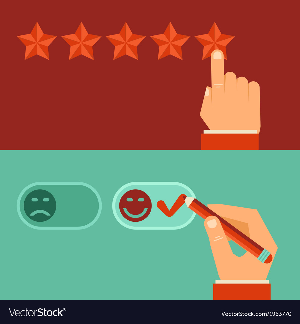 Customer review concepts in flat style vector | Price: 1 Credit (USD $1)