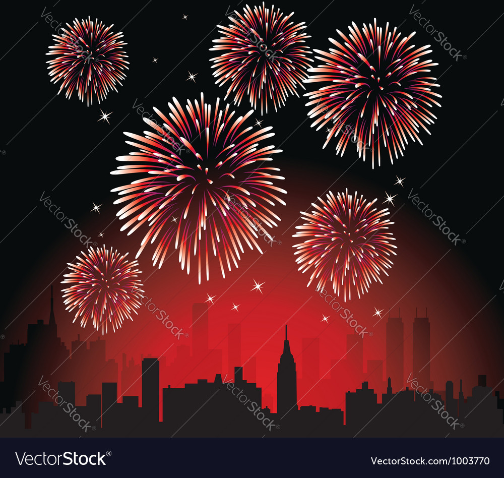 Fireworks over a city vector | Price: 1 Credit (USD $1)