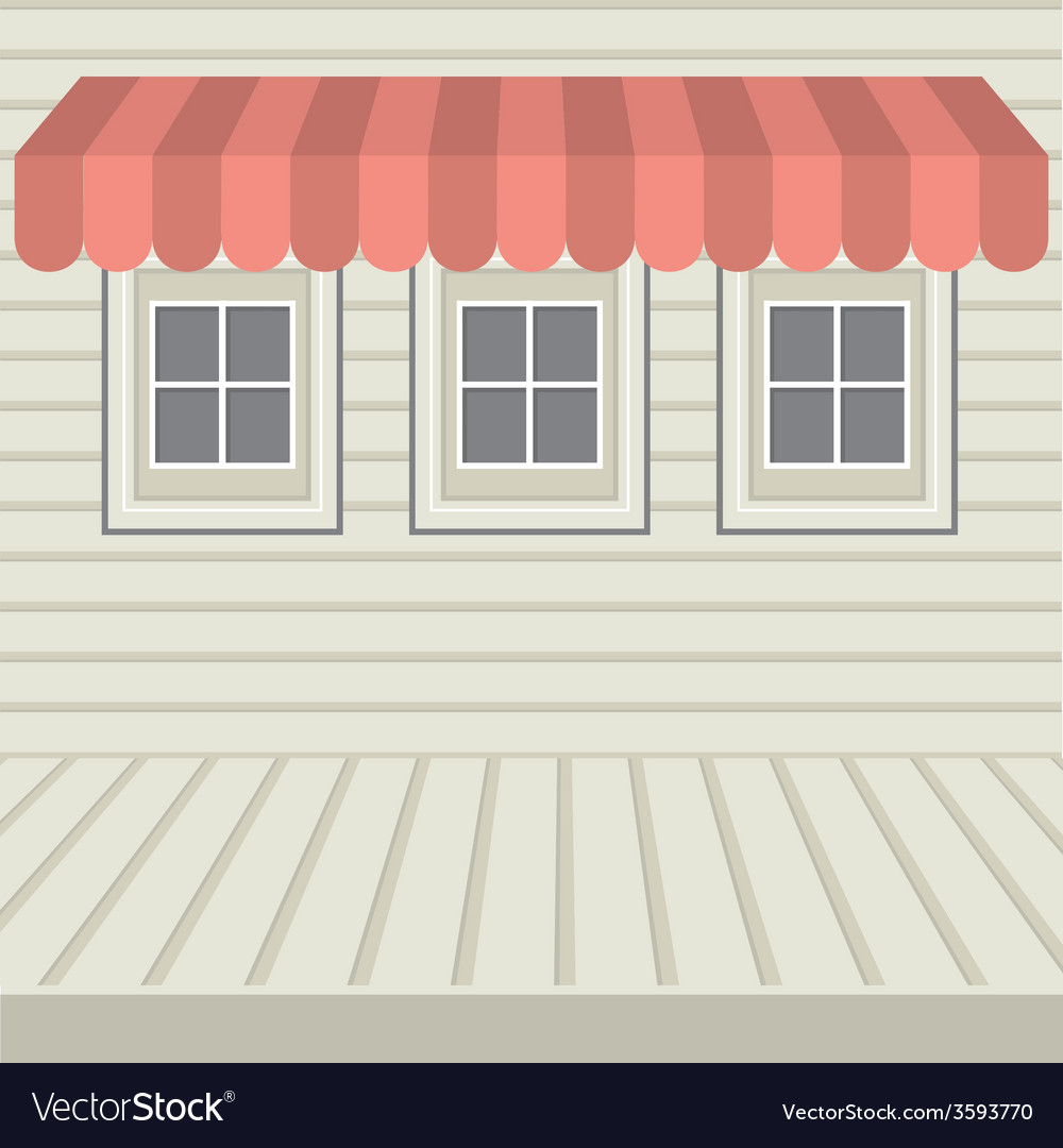 Flat design awning with three windows vector | Price: 1 Credit (USD $1)
