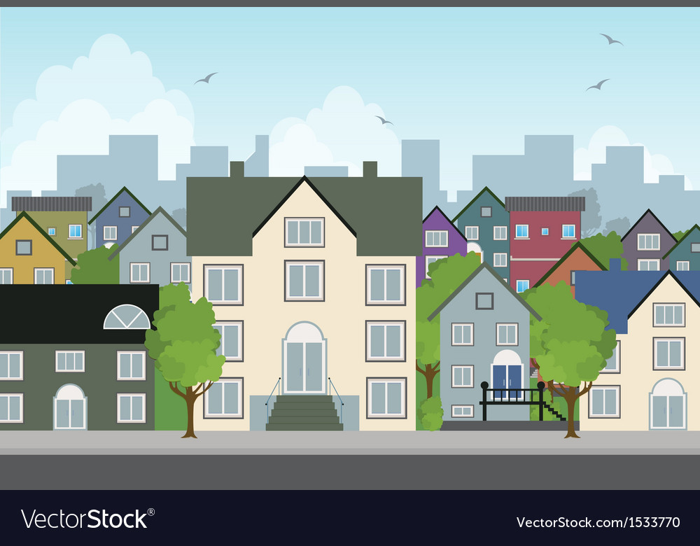 Home in the city vector | Price: 3 Credit (USD $3)