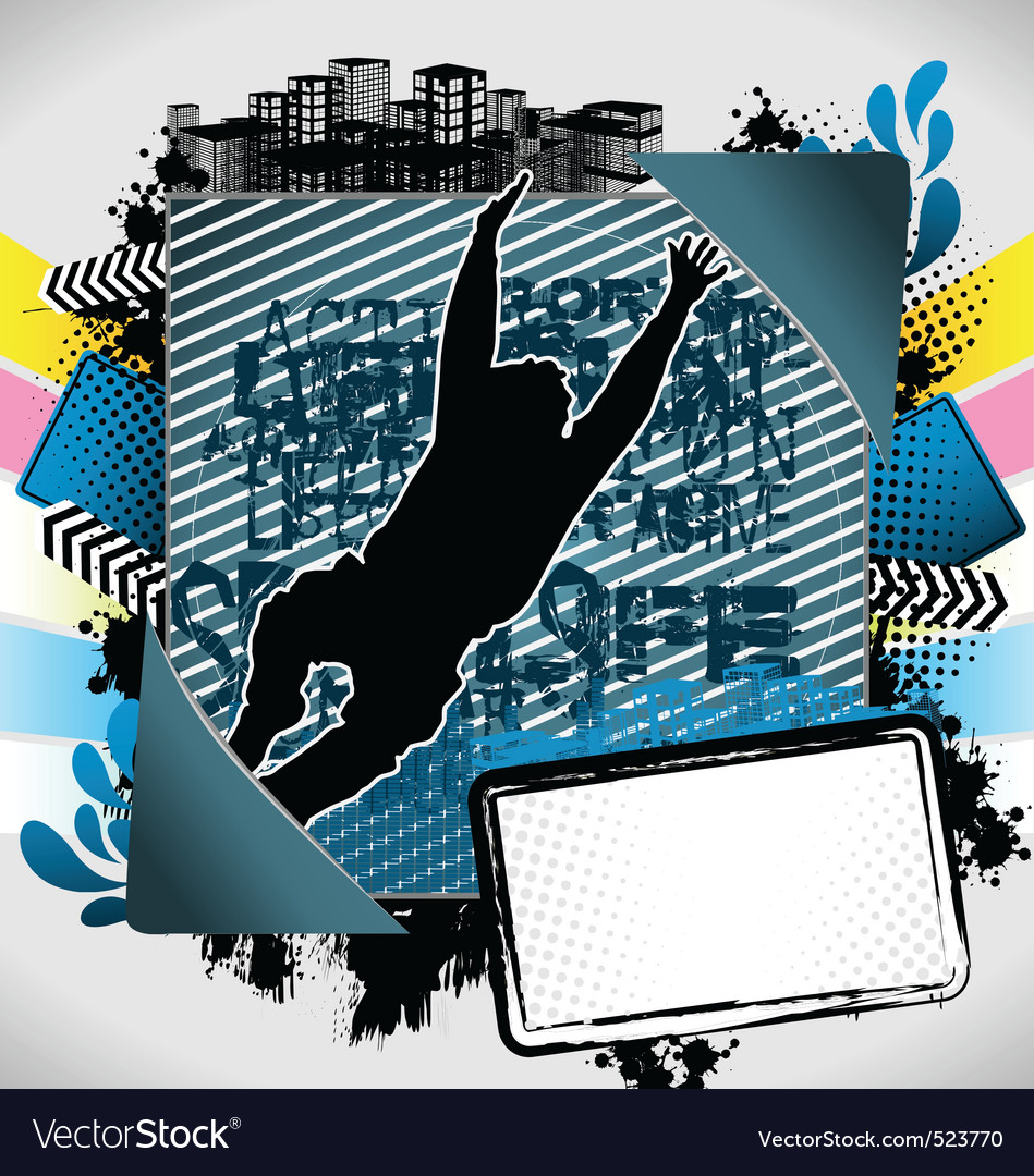 Jumping man summer frame vector | Price: 1 Credit (USD $1)
