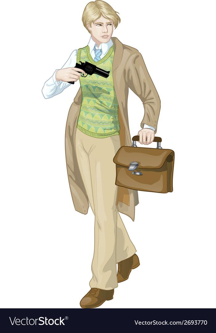Retro boy with a gun cartoon character vector | Price: 1 Credit (USD $1)