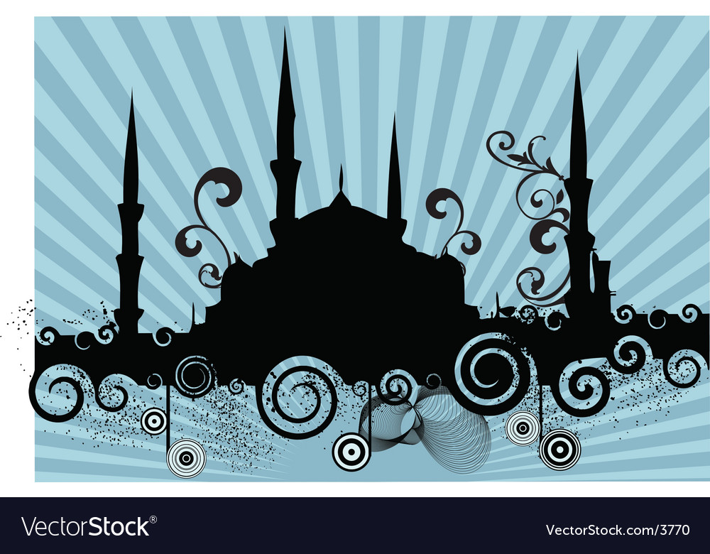 Retro mosque silhouette vector | Price: 1 Credit (USD $1)