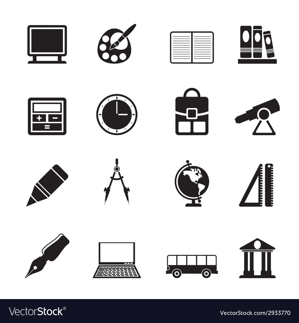 Silhouette school and education icons vector | Price: 1 Credit (USD $1)