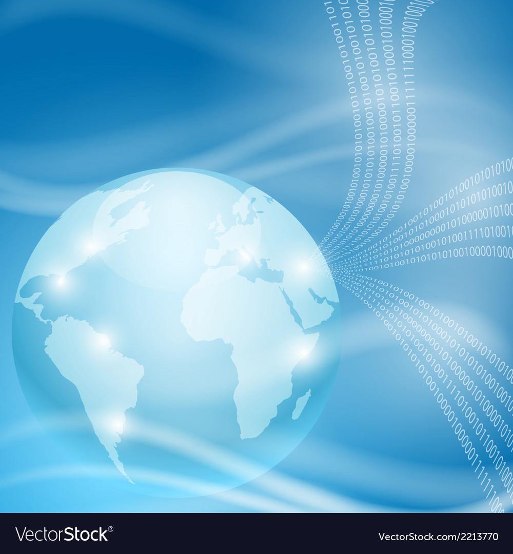 Stream of binary code to globe vector | Price: 1 Credit (USD $1)
