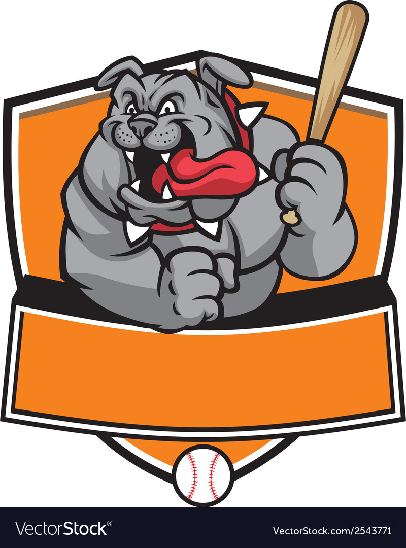 Bulldog baseball mascot vector | Price: 3 Credit (USD $3)
