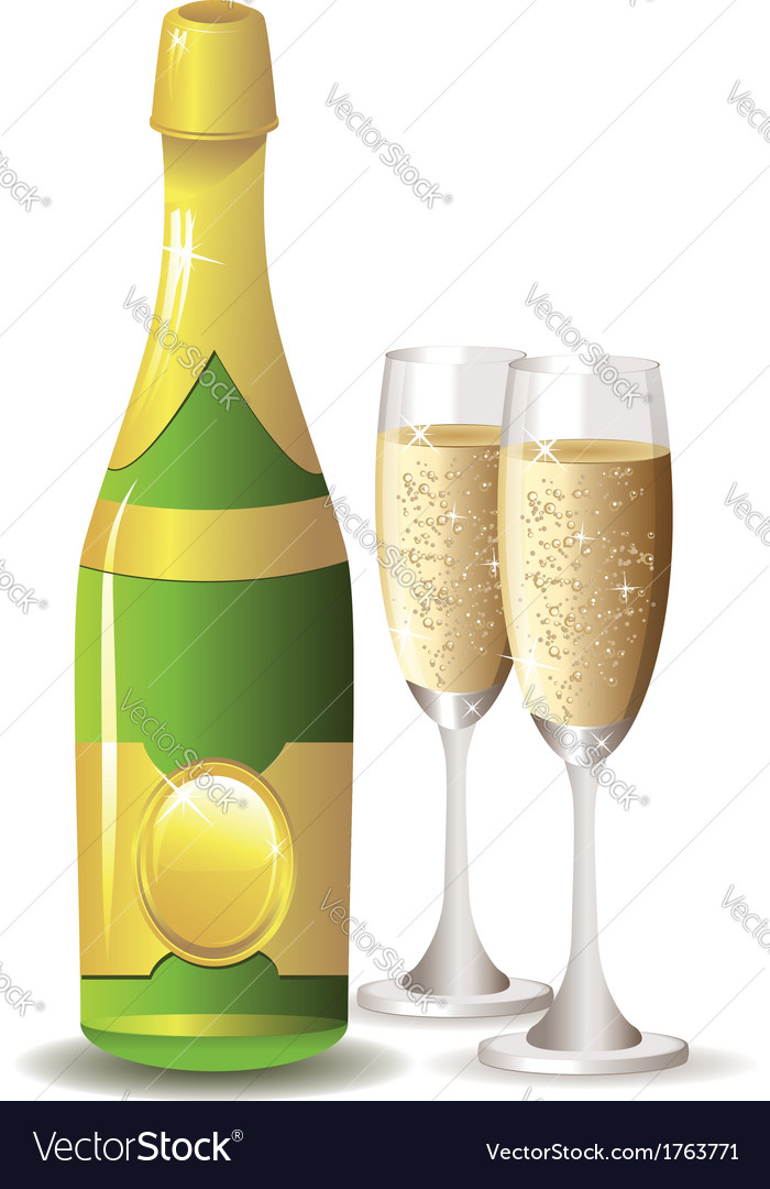 Champagne bottle and two glasses vector | Price: 1 Credit (USD $1)