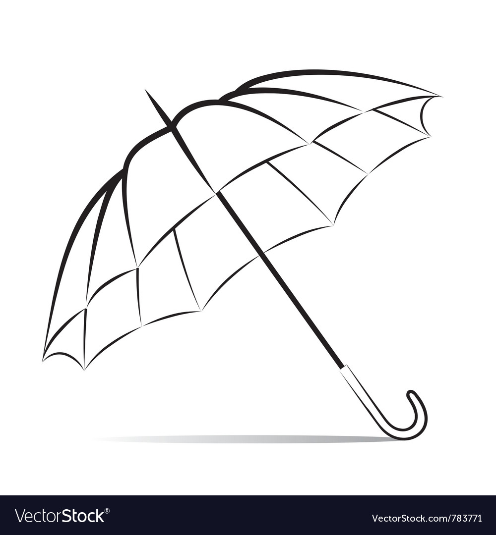 Drawing umbrella on white background vector | Price: 1 Credit (USD $1)