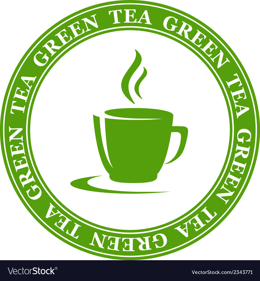 Icon with green tea cup vector | Price: 1 Credit (USD $1)