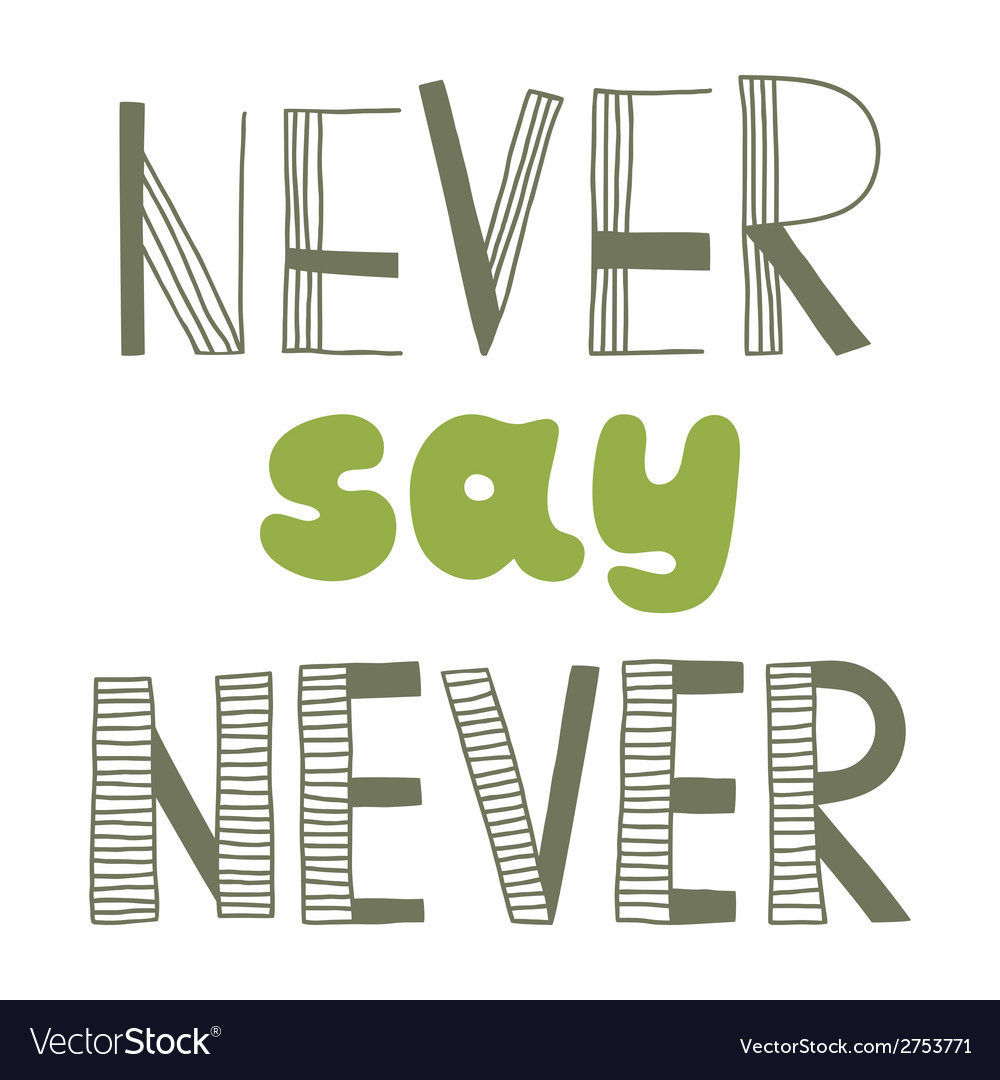 Never say never quote inspirational poster vector | Price: 1 Credit (USD $1)