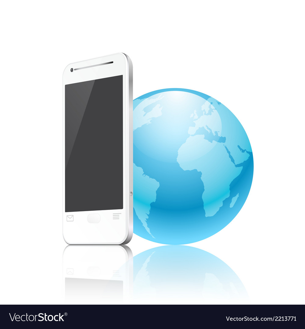 Phone and the earth vector | Price: 1 Credit (USD $1)