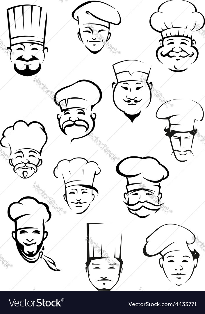 Professional chefs in toques from around the world vector | Price: 1 Credit (USD $1)