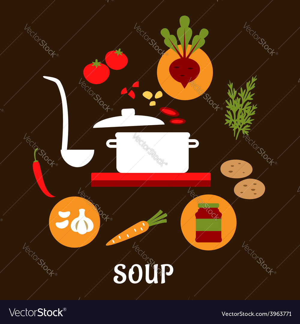 Recipe of vegetarian soup with flat icons vector | Price: 1 Credit (USD $1)