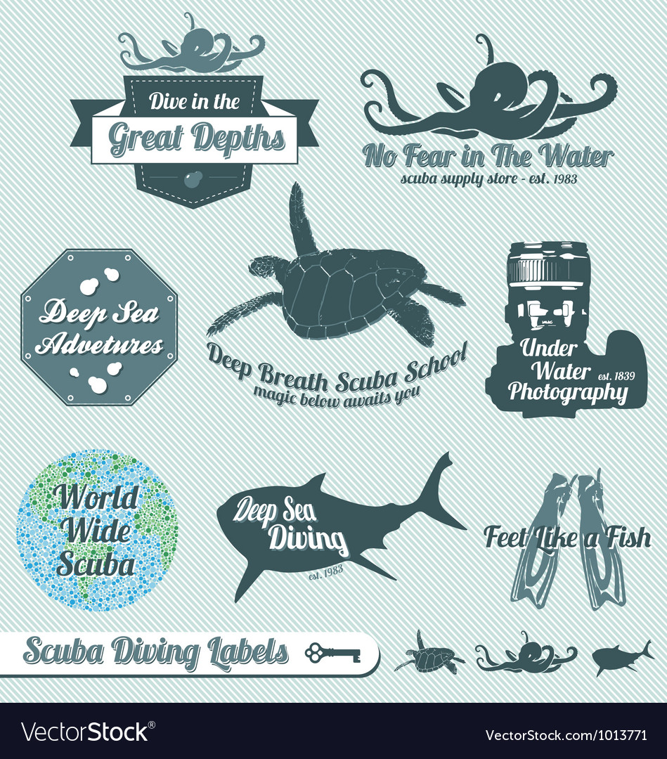 Scuba diving labels vector | Price: 1 Credit (USD $1)