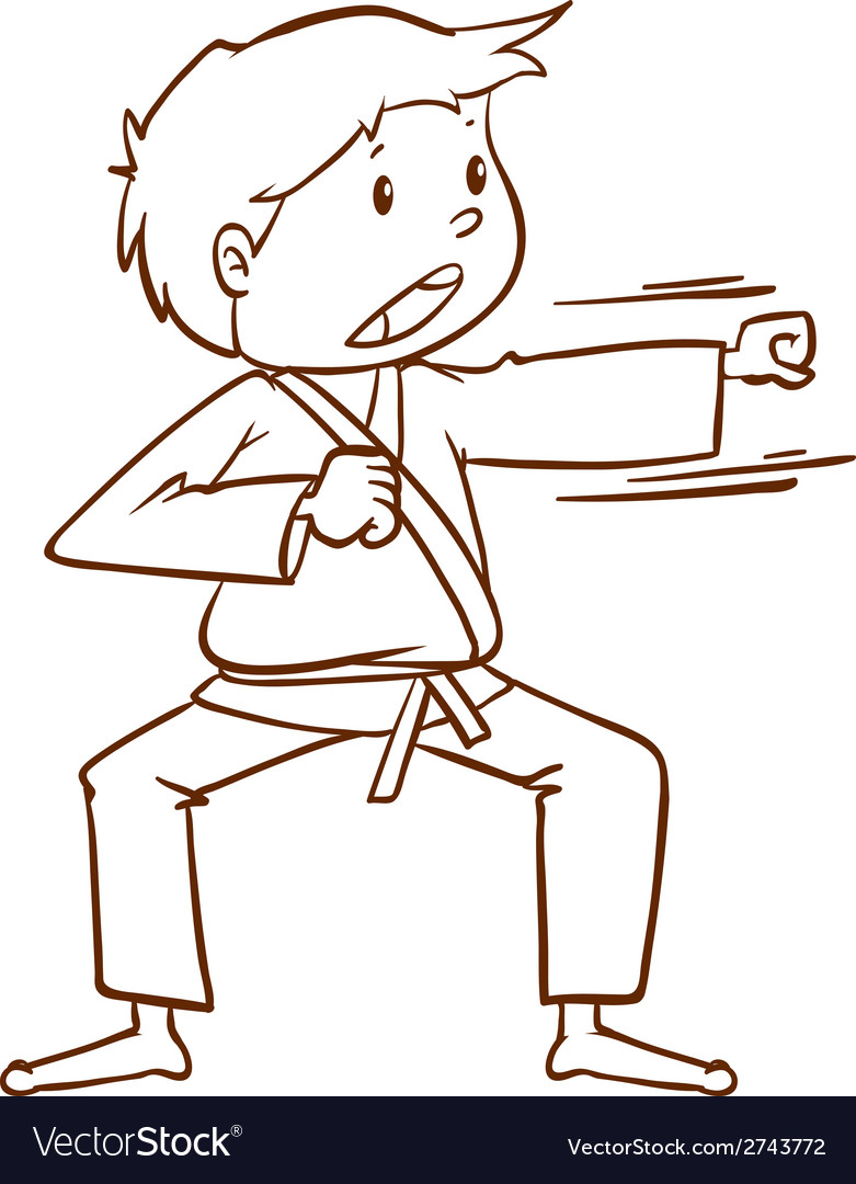 A simple sketch of a boy doing martial arts vector | Price: 1 Credit (USD $1)