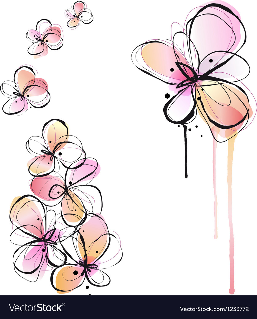 Abstract watercolor flowers vector | Price: 1 Credit (USD $1)