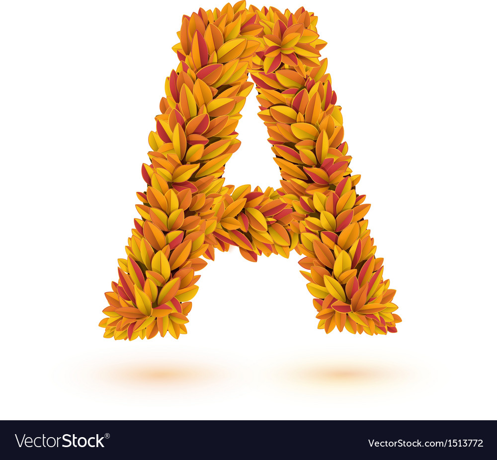 Autumn fall bright orange leaves letter vector | Price: 1 Credit (USD $1)