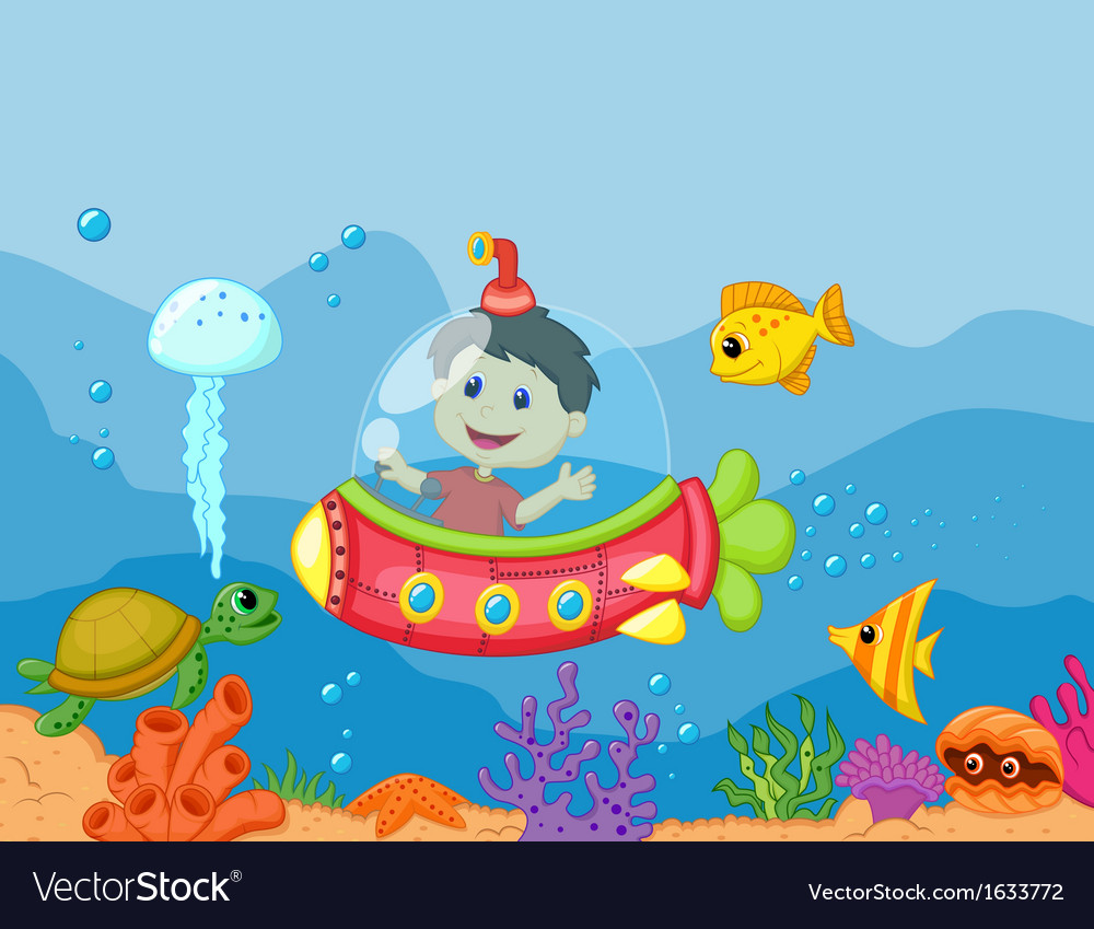 Cartoon a kids in the submarine vector | Price: 1 Credit (USD $1)
