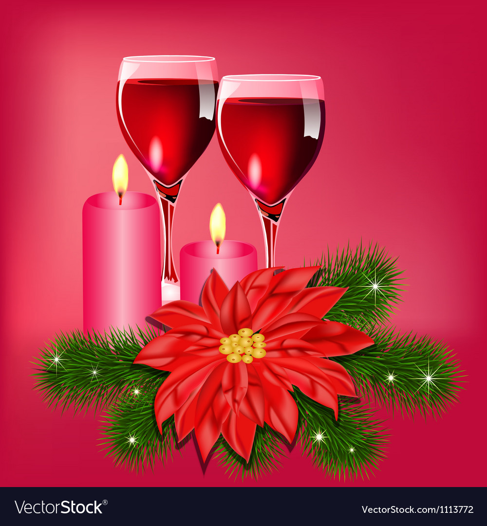 Christmas wine candles card vector | Price: 1 Credit (USD $1)