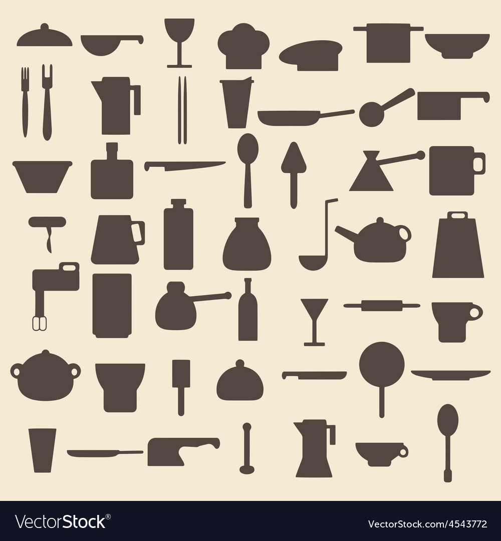 Cooking items types silhouette icons set perfect vector | Price: 1 Credit (USD $1)