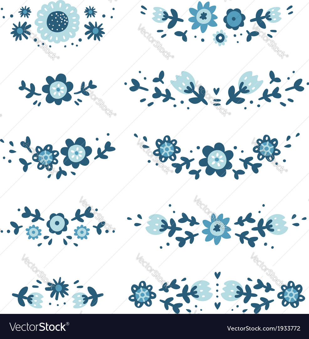Decorative floral compositions vector | Price: 1 Credit (USD $1)