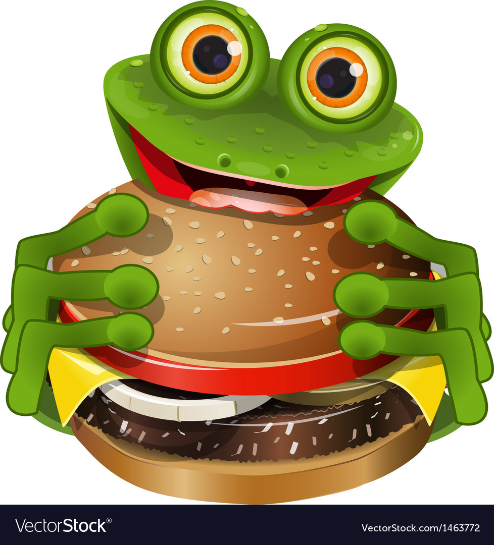 Frog with cheeseburger vector | Price: 3 Credit (USD $3)
