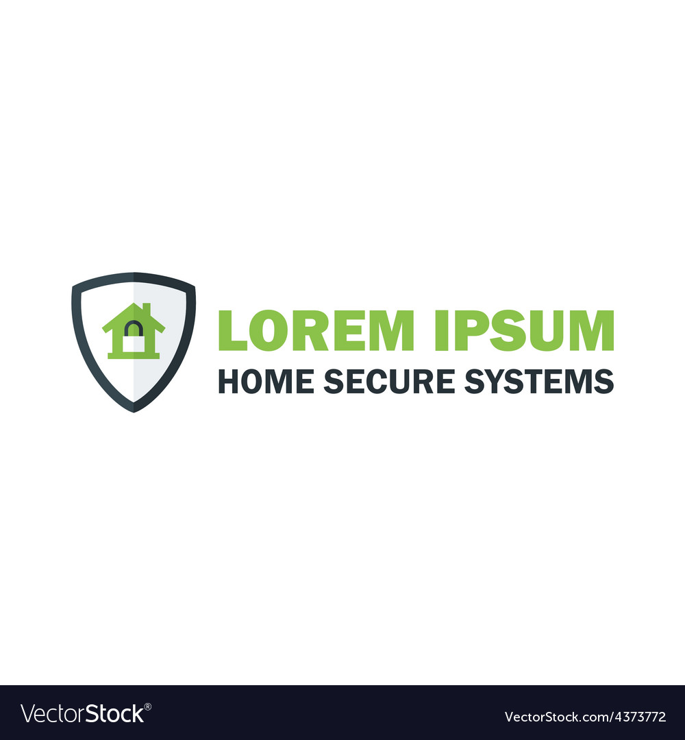 Green home security system logo with padlock vector | Price: 1 Credit (USD $1)
