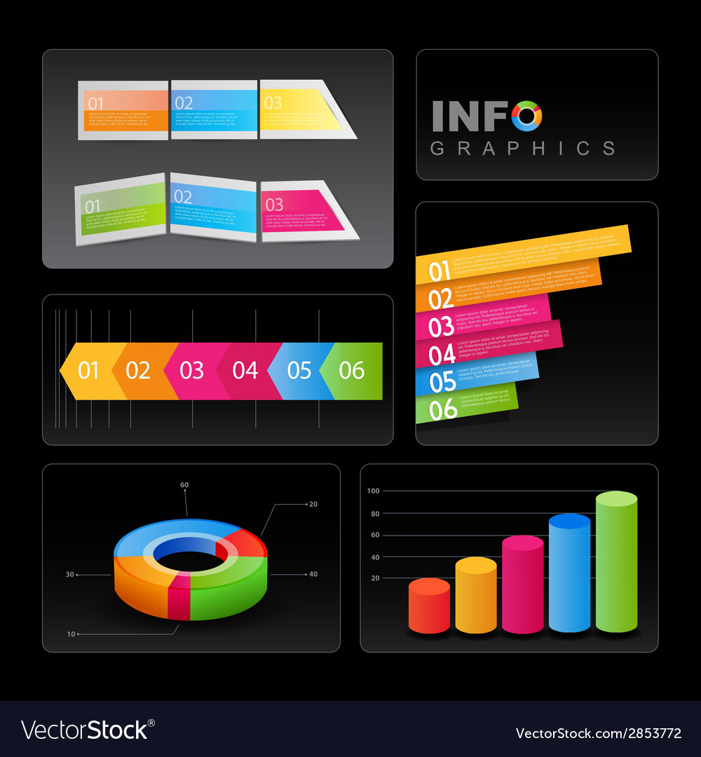 Info-graphic elements on black background vector | Price: 1 Credit (USD $1)