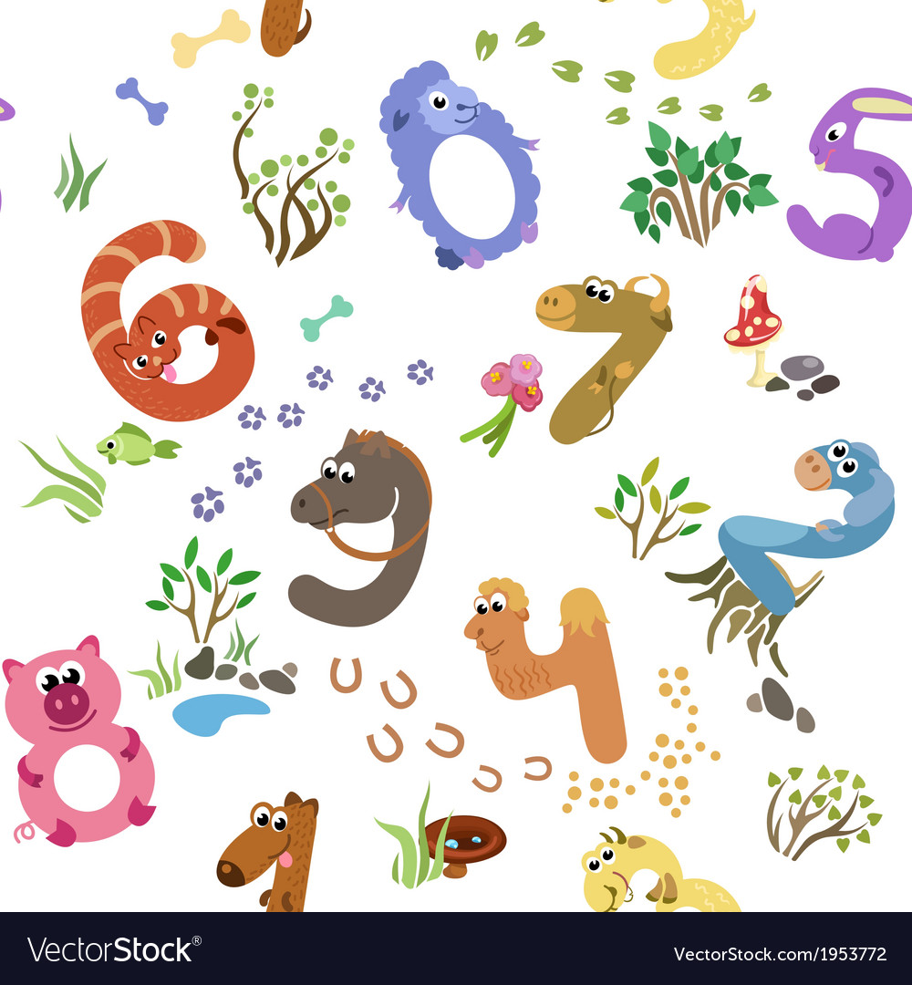 Numbers like farm animals seamless pattern vector | Price: 1 Credit (USD $1)
