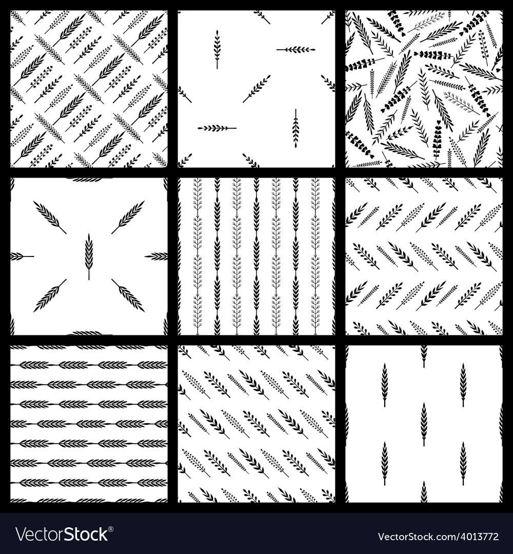 Set of seamless patterns of leaves vector | Price: 1 Credit (USD $1)