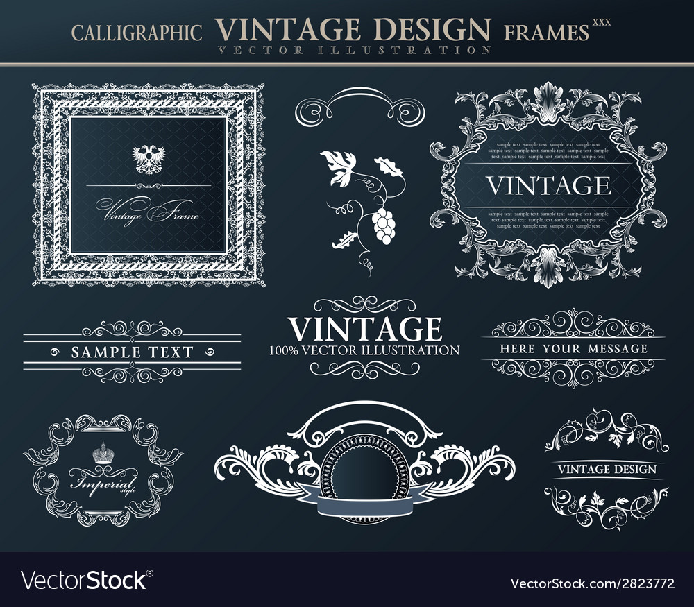 Vintage black frames ornament set element decor vector | Price: 1 Credit (USD $1)