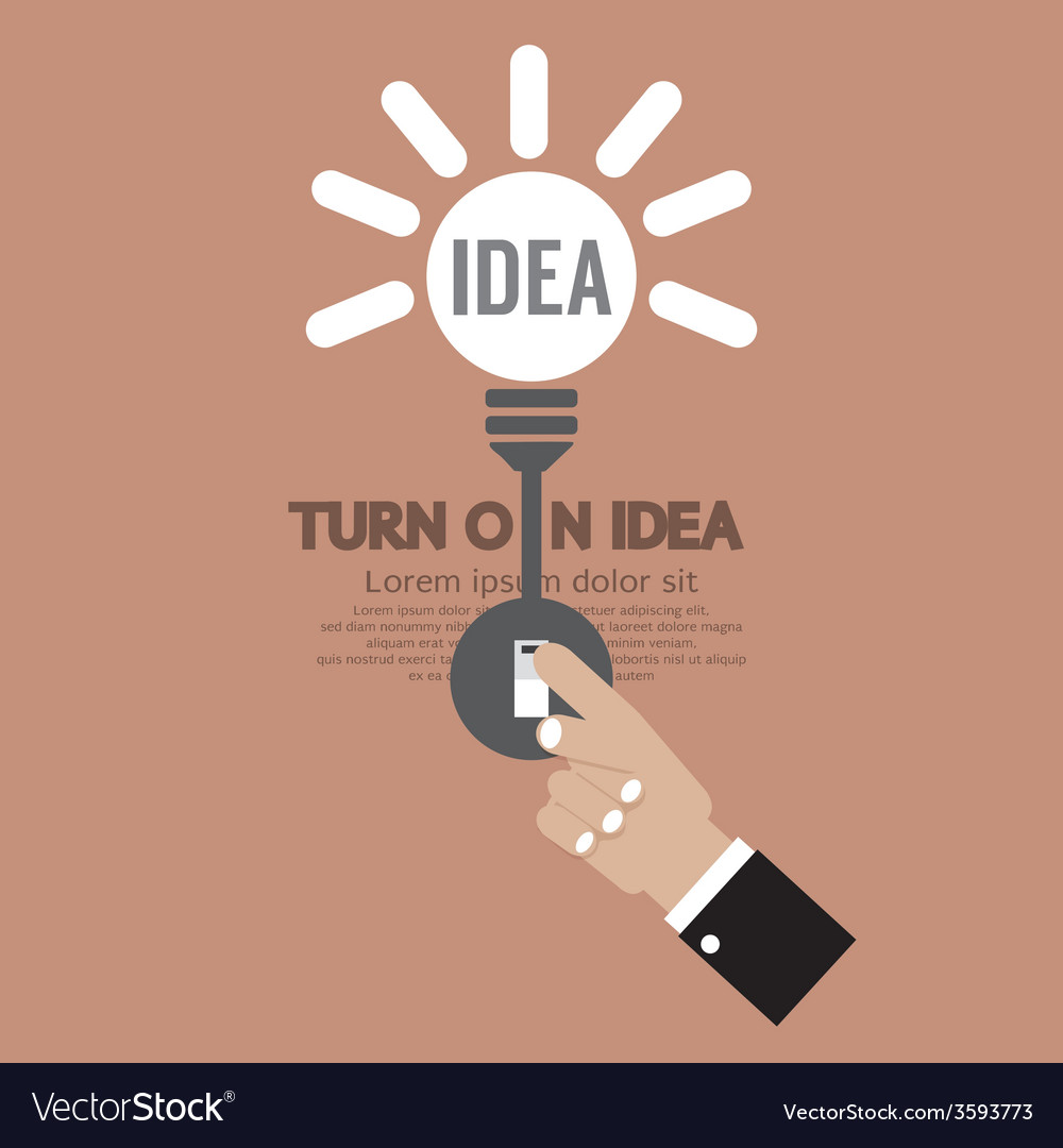 Abstract lightbulb turn on idea concept creativity vector | Price: 1 Credit (USD $1)