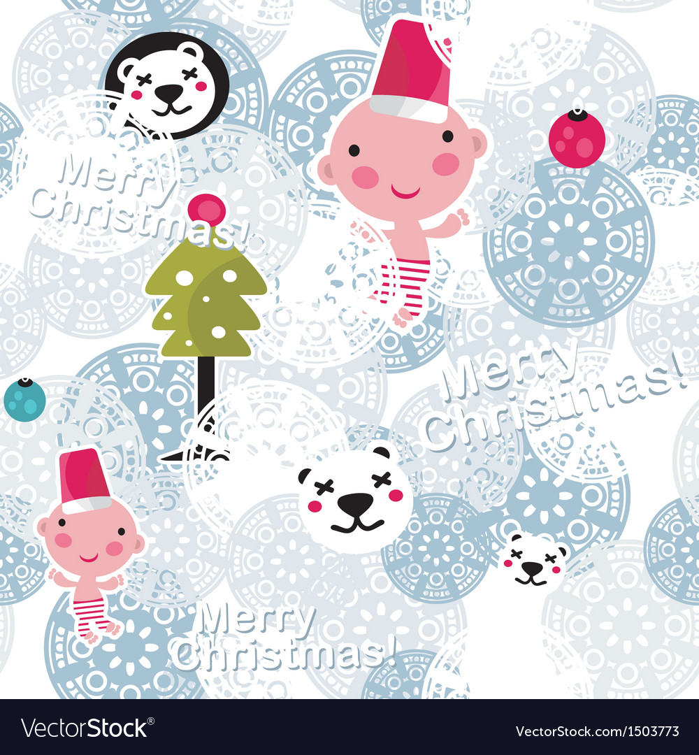 Christmas seamless background with cute baby boy vector | Price: 1 Credit (USD $1)