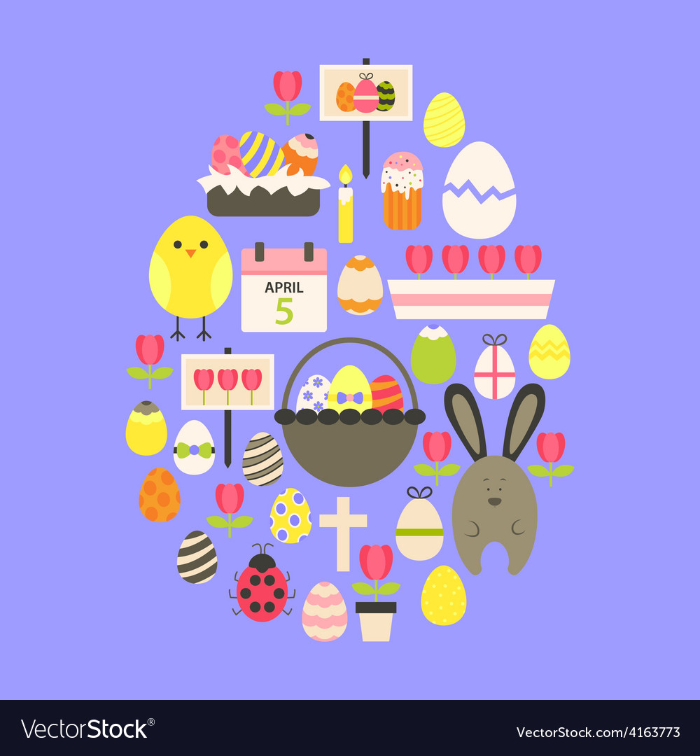 Easter flat icons set egg shaped over purple vector | Price: 1 Credit (USD $1)