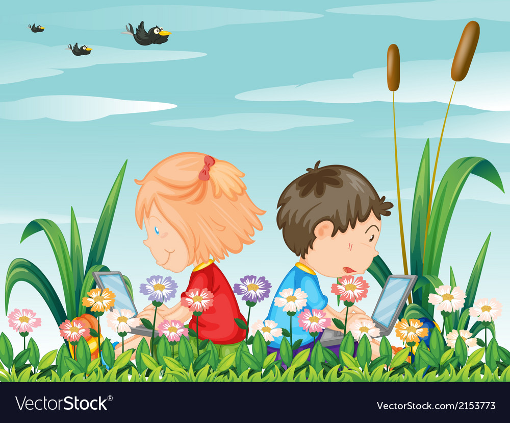 Kids at the garden with their laptops vector | Price: 3 Credit (USD $3)