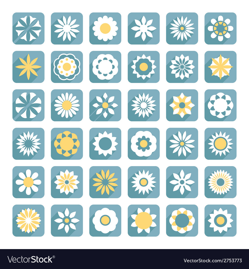 Set of flower flat flowers icons vector | Price: 1 Credit (USD $1)