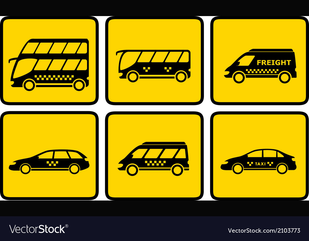 Set yellow passenger transport icon vector | Price: 1 Credit (USD $1)