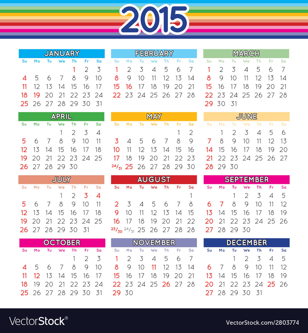 2015 squared calendar english vector | Price: 1 Credit (USD $1)