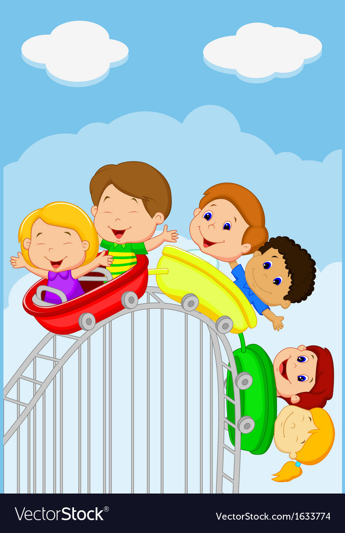 Cartoon kids riding roller coaster vector | Price: 1 Credit (USD $1)