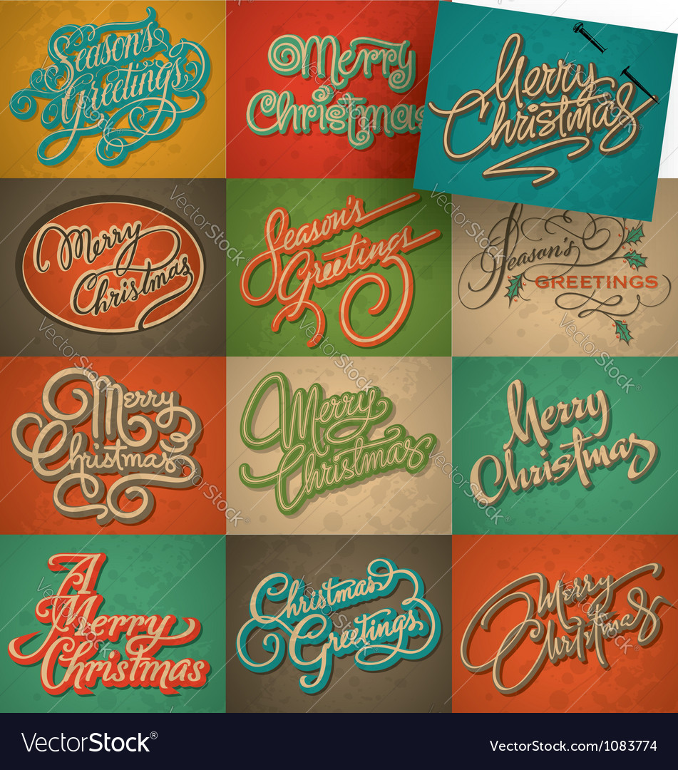 Christmas vintage cards set vector | Price: 3 Credit (USD $3)