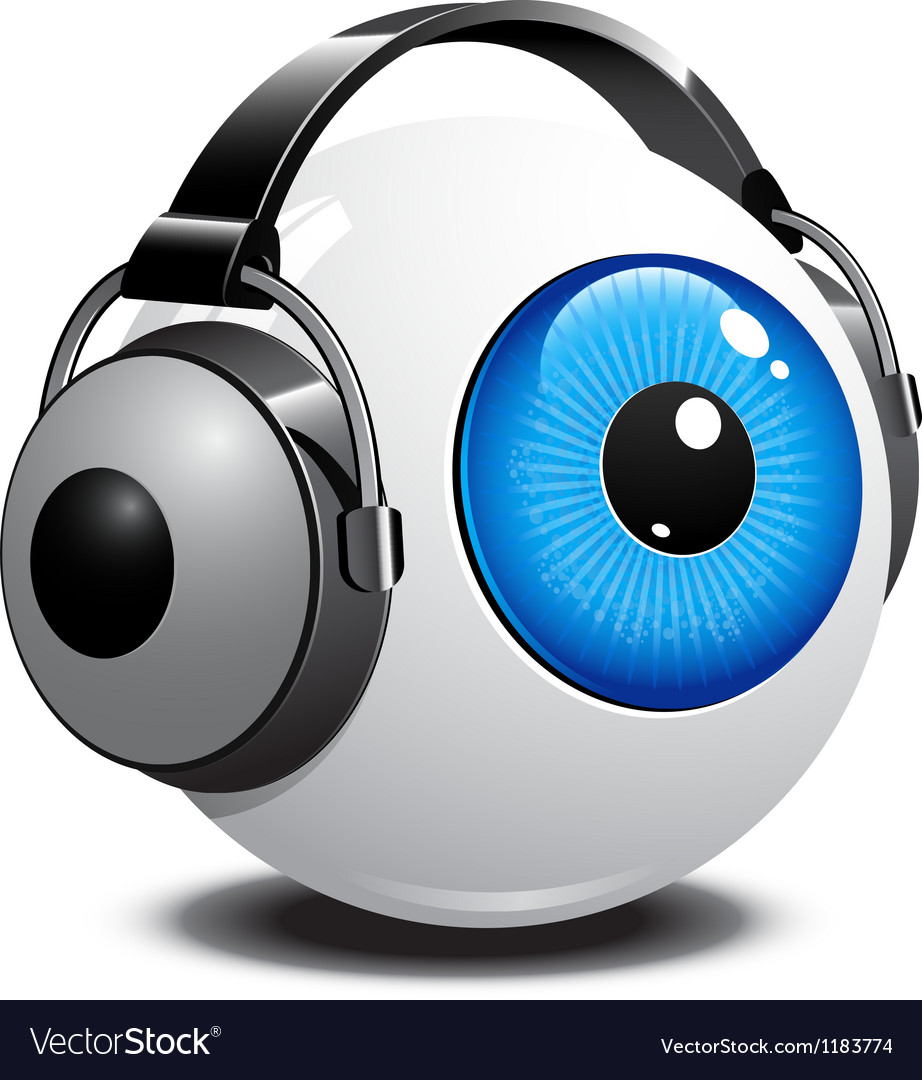 Eyeball with headphones on vector | Price: 1 Credit (USD $1)