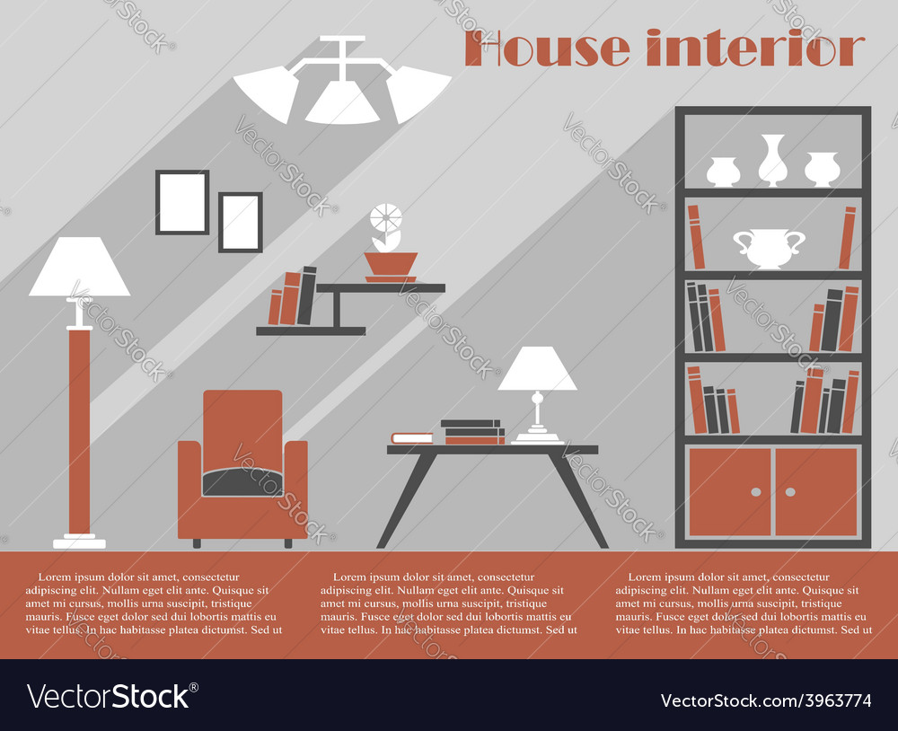 House interior design infographic template vector | Price: 1 Credit (USD $1)