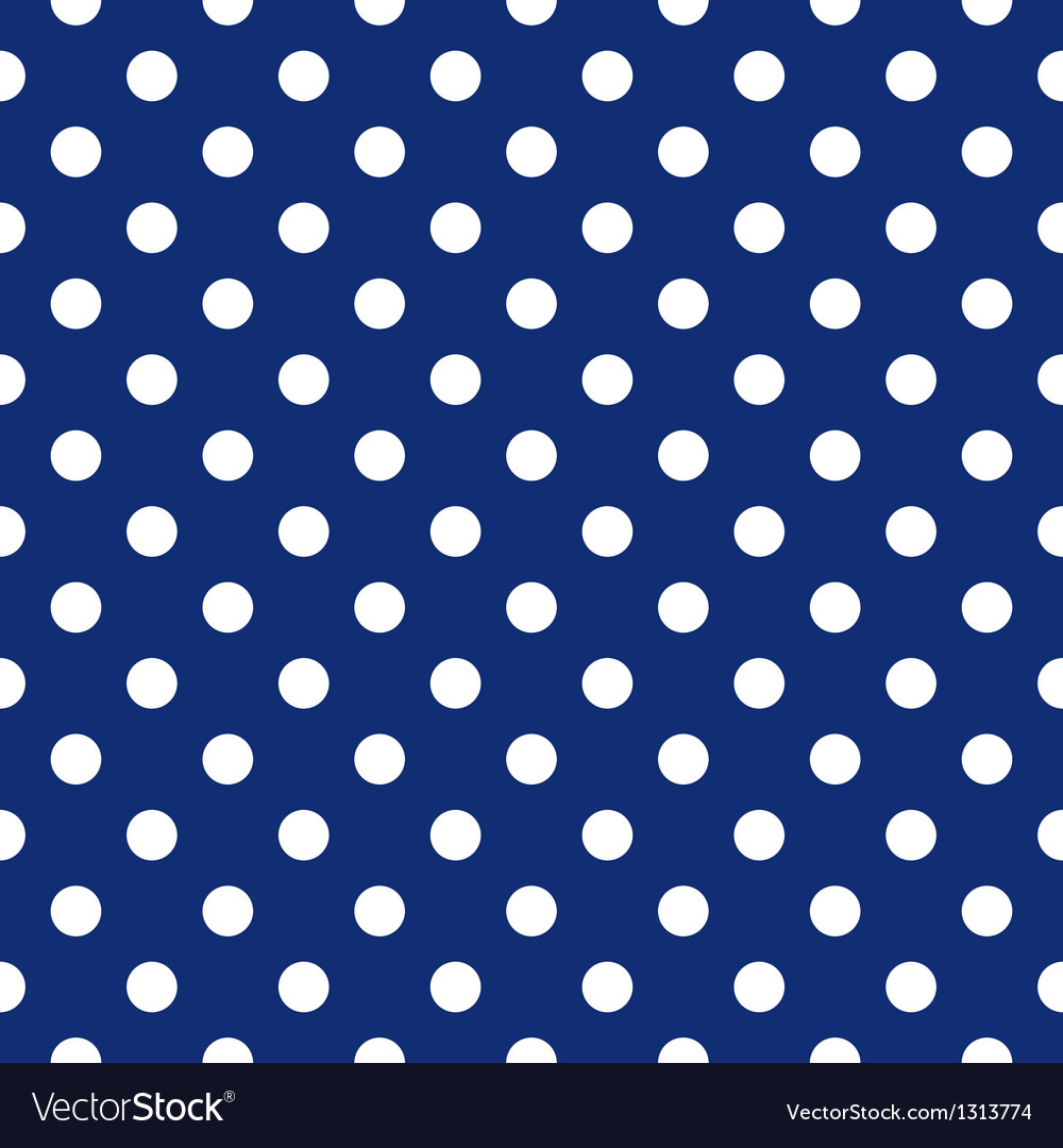 Seamless pattern white polka dots navy background vector | Price: 1 Credit (USD $1)