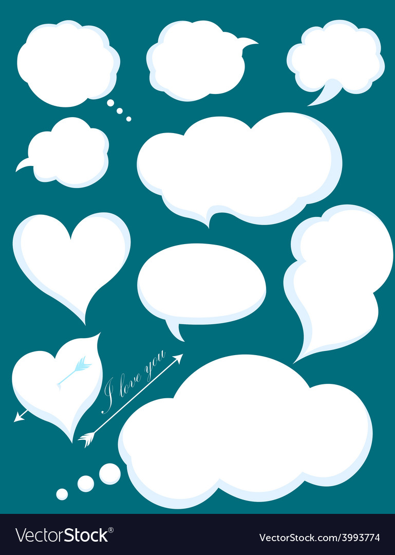 Set of romantic love or cloud communications vector | Price: 1 Credit (USD $1)