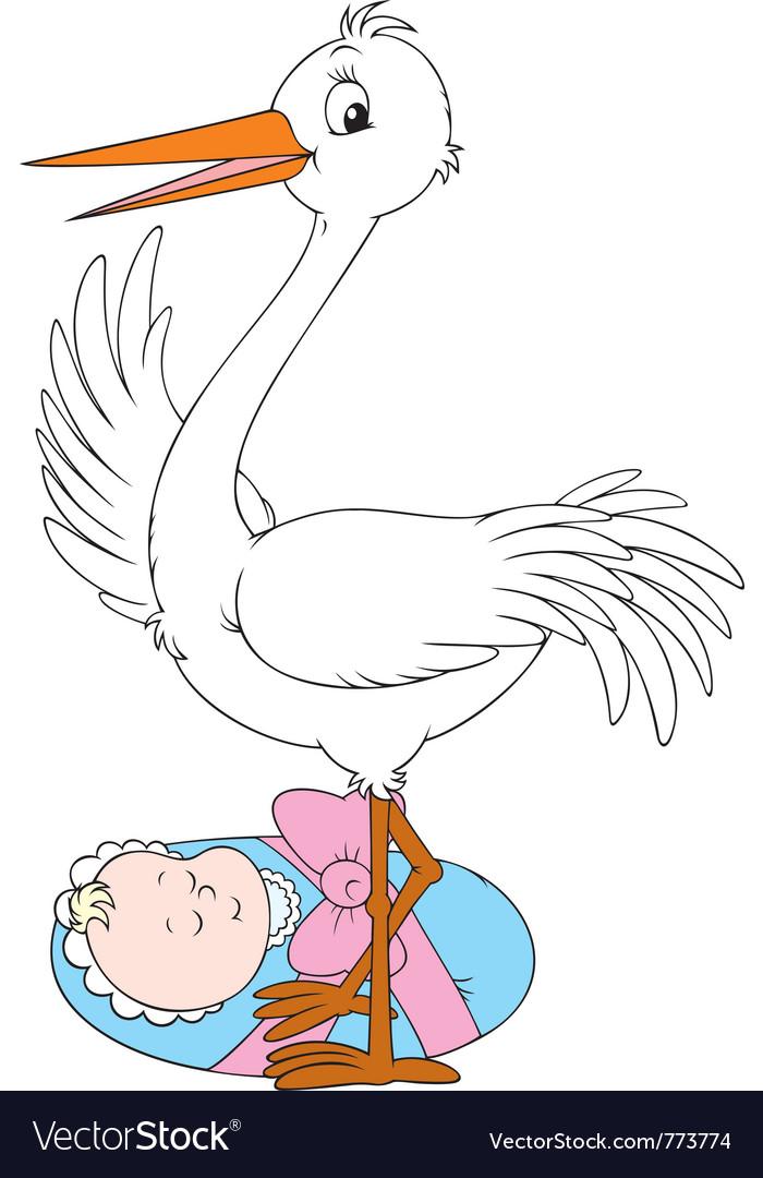 Stork and newborn vector | Price: 3 Credit (USD $3)