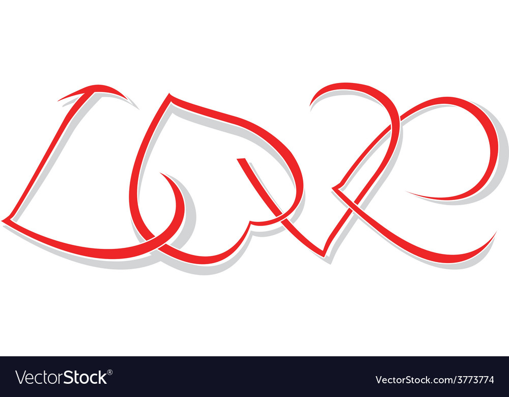 The word love of woven hearts vector   Price: 1 Credit (USD $1)