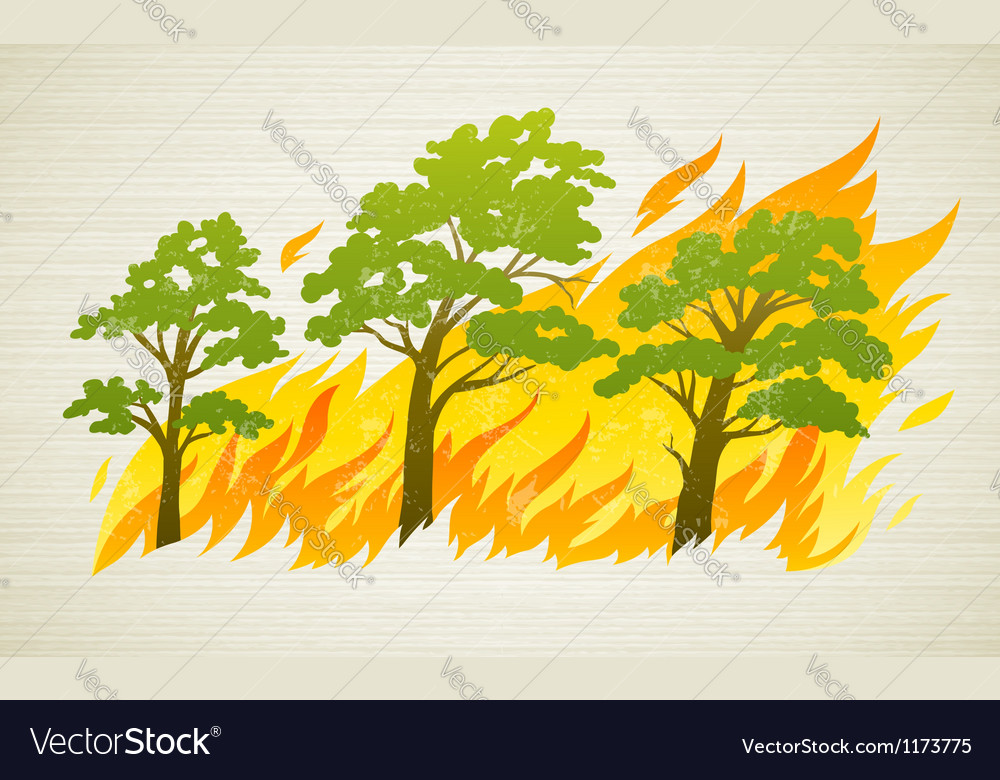 Burning forest trees in fire vector | Price: 1 Credit (USD $1)