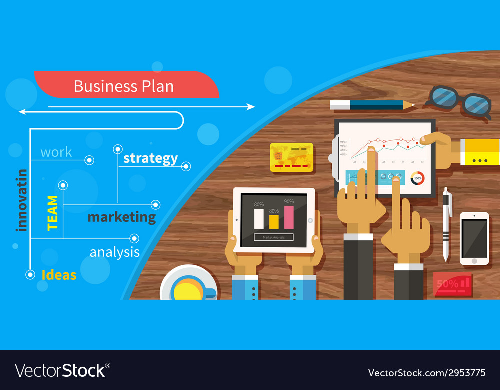 Business plan strategy with touchscreen vector | Price: 1 Credit (USD $1)