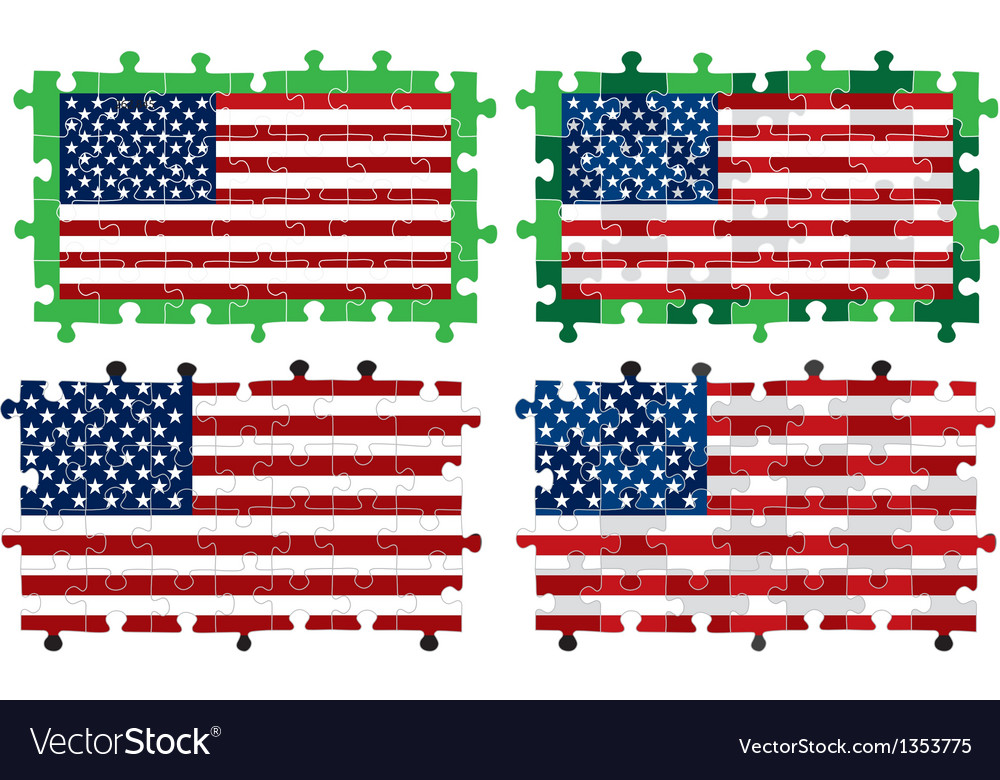 Jigsaw american flag vector | Price: 1 Credit (USD $1)